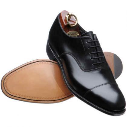 Black Cap Toe Plain Tip Lace up Pur..