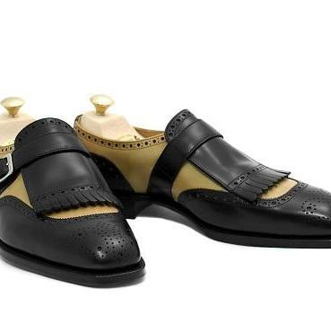 Handmade Men two tone monk shoes, M..