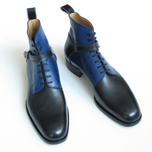 New Handmade men Wrap Belted Chelsea boots, Men's leather boot