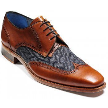 New Men's Tweed Wing Tip Brown Color Derby Handmade Vintage Leather Lace up Shoes