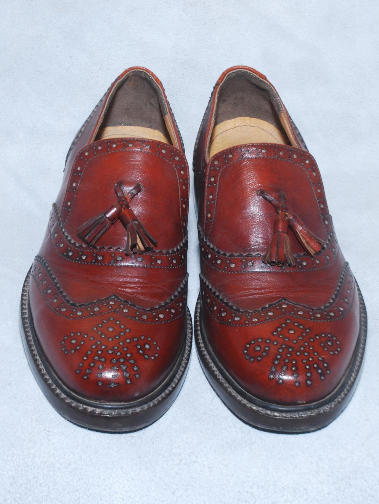 Moccasins Red Tassels Wing Tip Full Brogues Genuine Leather Loafers For Men