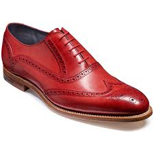 Made To Order Men's Red Oxford Brogue Toe Natural Color Sole Genuine Leather Lace up Shoes