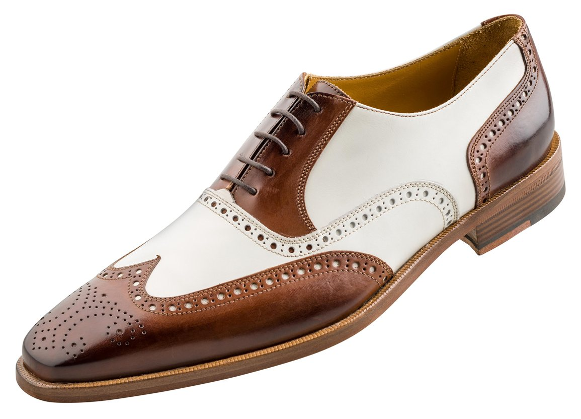 Handcrafted Men's Oxford Burnished Brogue Toe Wingtip Brown White Contrast Leather Lace up Shoes