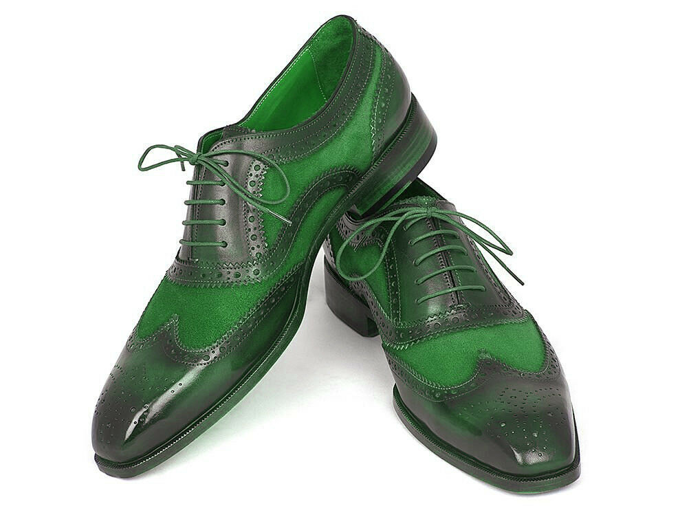 Men's Black & Green Burnished Brogues Toe Wing Tip Suede Leather Shoes US 7-16