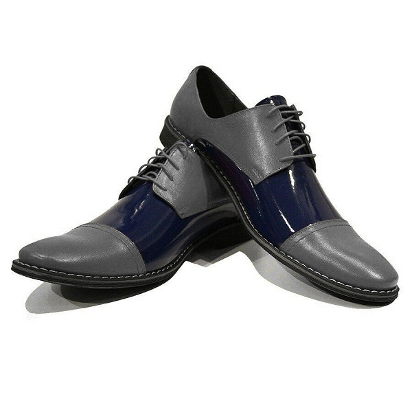 Made To Order Two Tone Gray Blue Cape Toe Lace Up Derby Leather Shoes US 7-16