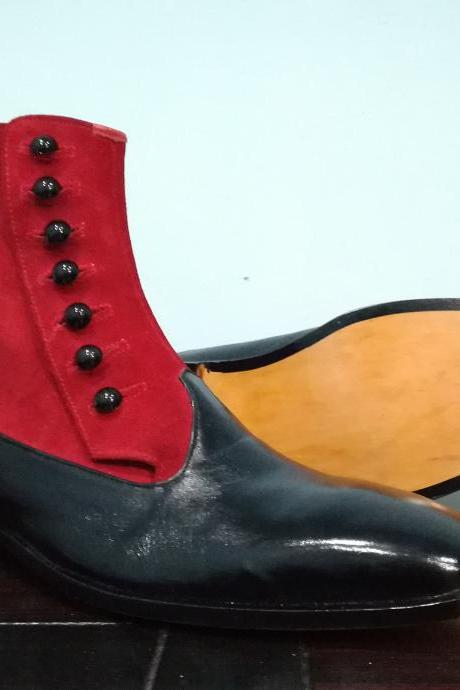 New Handmade Leather Suede Button Fashion Boot, Men's Red Black Ankle High Boot