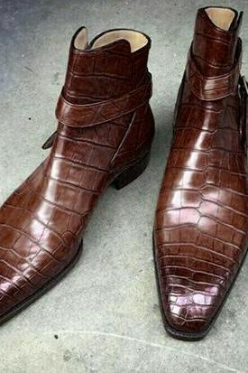 New Handmade Alligator Leather Boot, Men's Jodhpurs Brown Color Leather Fashion Boot