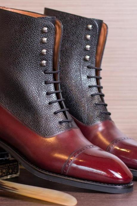 New Handmade Leather Denim Lace Up Fashion Boot, Men's Black Burgundy Cap Toe Boot