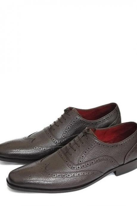 New Hand Made Dark Brown Original Leather Brogue Style Shoes for Men's