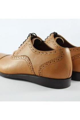 New Classic Tan Oxford Style Hand Made Original Leather Boots Men's