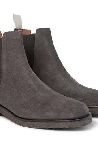 New Handmade men dark gray color suede boot, Men gray crepe sole boot, Mens boot