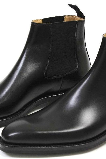 Handmade Men black chelsea Boots,Men's Ankle Boot