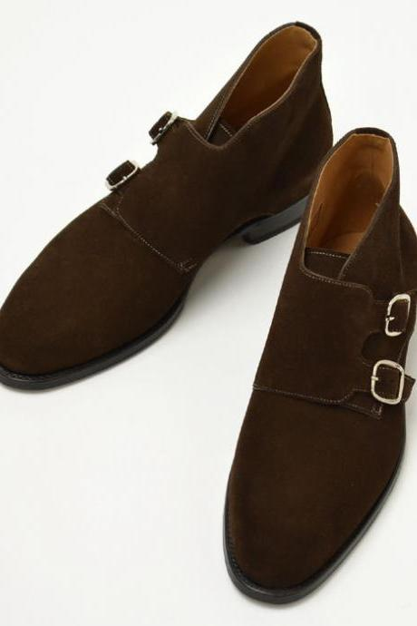 New Handmade men double monk chukka boots, Men brown suede leather boot