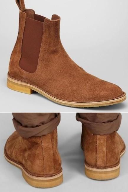 New stylish Handmade Men Brown Chelsea Suede Leather Boots, Men suede leather boot