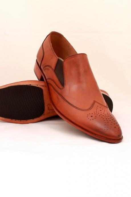 NEW HAND MADE LOAFER STYLE SHOES TAN BROWN, DRESS SHOES MEN