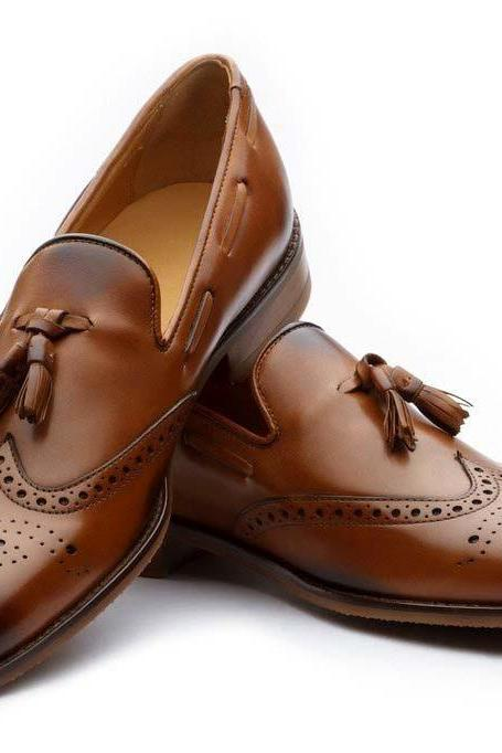 New Two Tone Wing Tip Burnished Brogue Toe Tassel Loafer Genuine Leather Dress Shoes
