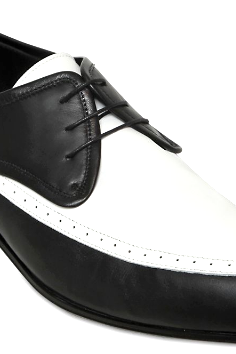 Two Tone Black White Contrast Oxford Pointed Plain Toe Leather Lace Up Shoes