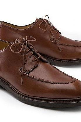 New Handmade Men Brown Apron Toe Derby Lace up Genuine Vintage Leather Shoes