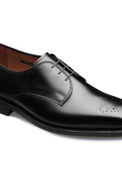 Black Medallion Lace up Derby Genuine Classical Leather Shoes For Men