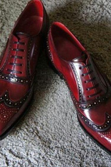 Handcrafted Men's Oxford Burnished Brogue Toe Hand Painted Maroon Red Color Leather S