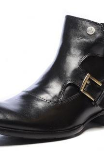 High Ankle Black Plain Tip Double Buckle Straps Monk Pure Leather Boots