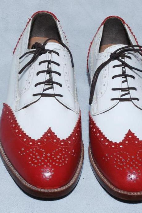 Men Red White Oxford Leather Shoes Full Brogues Laceup Genuine Leather Sole