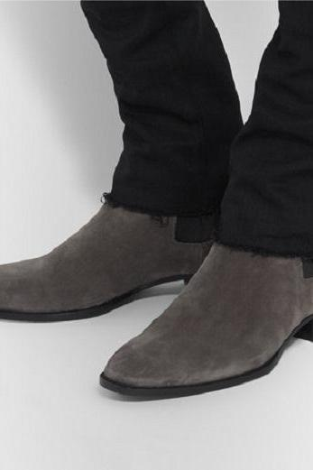New Handmade men gray ankle high boot, Men suede boots, Mens fashion ankle boot