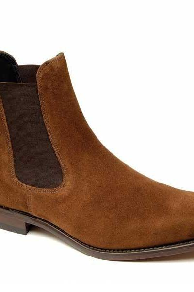 Men Brown genuine Suede leather Chelsea boot,Men leather boot, Men ankle boot