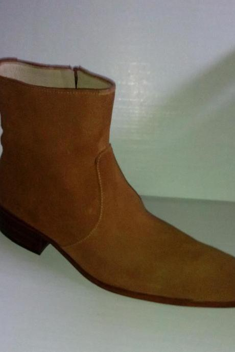Handmade tan brown boots, men suede leather boots, side zipper boots. ankle boot, Mens boots