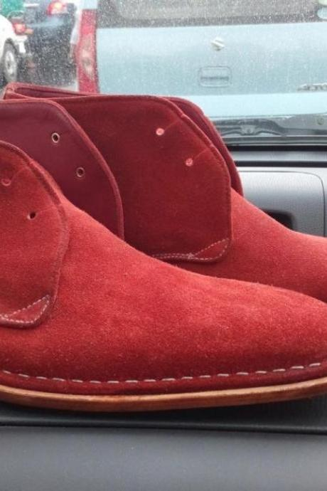 New Handmade men Ankle suede leather boots in Cherry red , Men cherry red suede leather boot