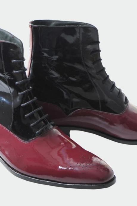 Men Two Tone Patent Leather Boots, Men Brogue Black And Burgundy Ankle Boot