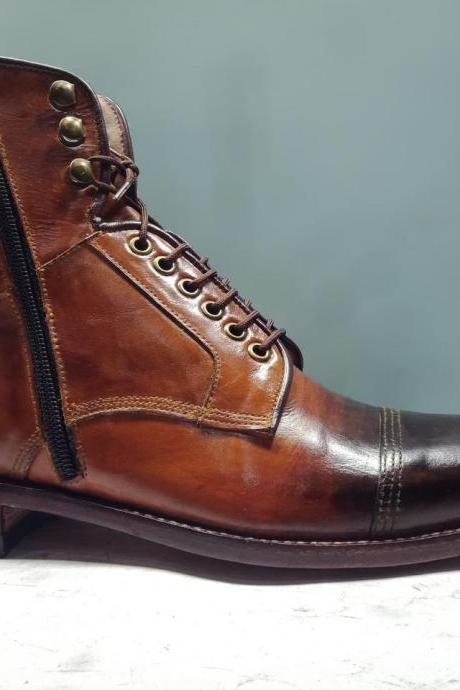 Handmade Men s Brown Military Leather Boot, Men's Ankle High Lace Up Formal Boots