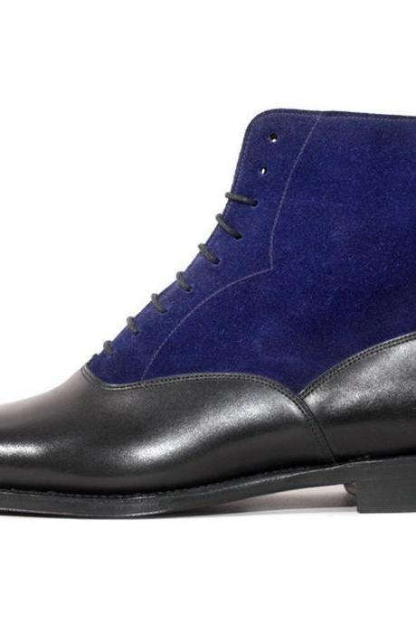 Handmade Navy Black Leather Suede Boot,Men's Lace Up Dress Ankle High Boot