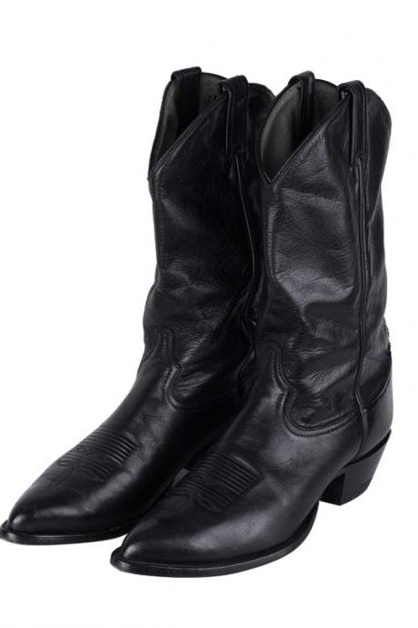 New Handmade men Black western style cowboy high ankle boots, Men fashion leather boots