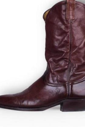 Handmade men Burgundy western style cowboy high ankle boots, Men leather boots