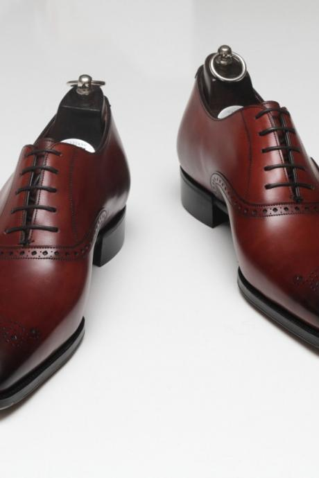 Handmade Men Formal Leather Shoes, Men Maroon Dress Leather Shoes, Men's shoes