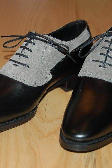 Handmade men dress leather two tone shoes,Men black and gray formal shoes