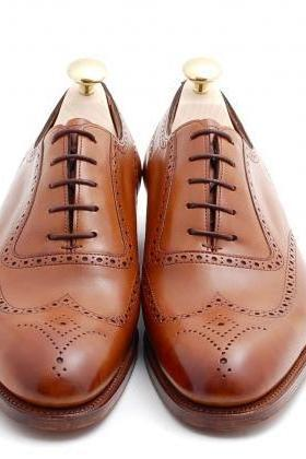 Handmade mes brown wingtip brogue formal leather shoes, Mens dress leather shoes