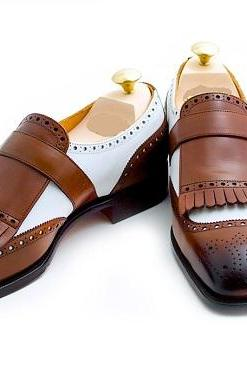 Handmade Men two tone monk shoes, Men formal shoes, Men brown and white shoes
