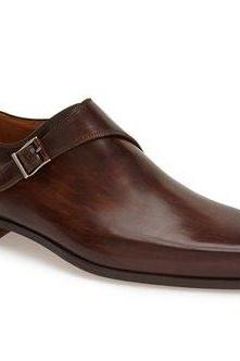 Handmade men brown dress shoes, Me genuine formal leather shoes, Men monk shoes