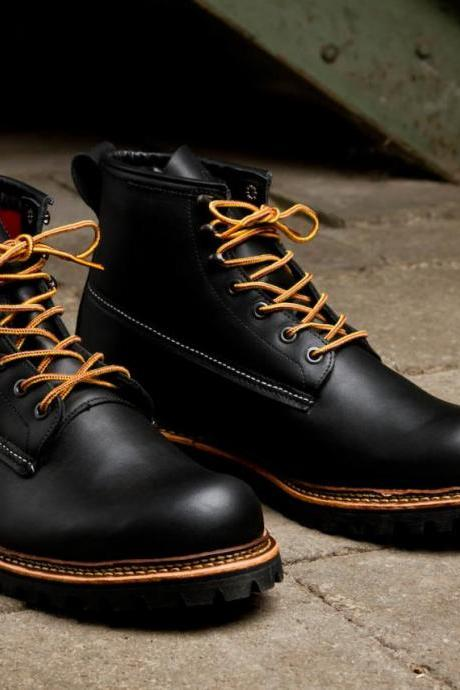 Handmade men genuine leather boots, Mens Black ankle high leather boots