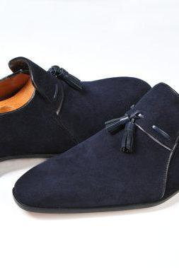 Handmade men Navy good year Welted sole suede leather shoes, Men formal shoes