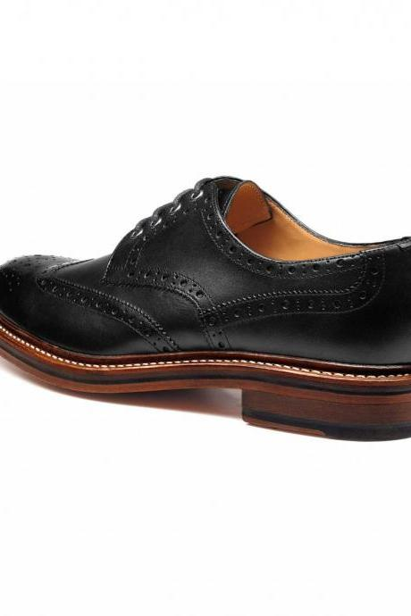 Handmade men derby black dress shoes, Men good year welted real leather shoes