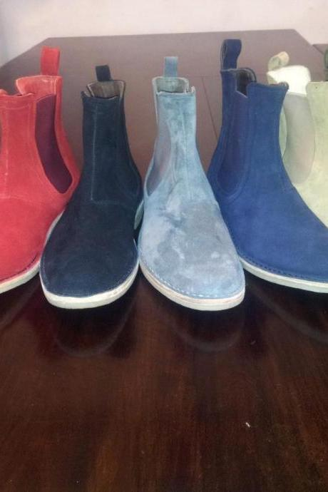 Handmade chelsea boots, men suede leather boots, crepe sole boots for men,casual boots