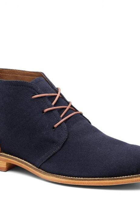 Handmade men Navy blue suede Chukka boots, Mens fashion genuine suede blue boots