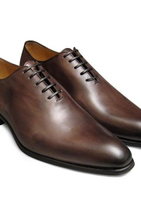 Handmade men brown color derby shoes, Men leather shoes, Men dress shoes, Men formal shoes