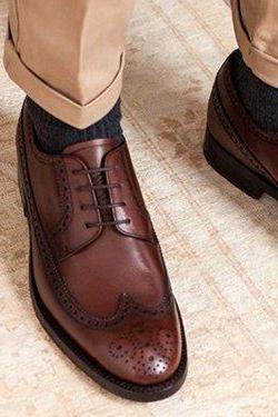 Handmade Men Wingtip Brown Leather Formal Shoes Men Brogue Dress Shoes Men shoes