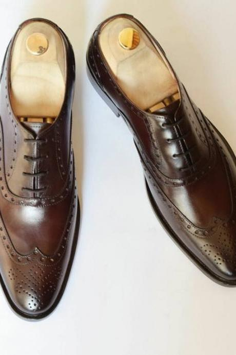 Handmade Men Wingtip brogue shoes, Men formal shoes, Men brown leather shoes
