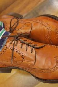 Handmade Men tan color wing tip brogue formal dress shoes, Men tan color shoes