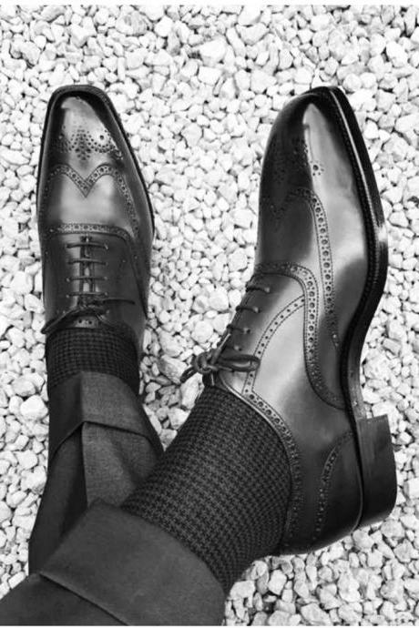 Handmade Men Two Tone Wing Tip Brogue Formal Shoes Men Black Dress Shoes